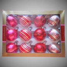 Vintage 1970s Corning Glass Christmas Tree Ornaments Hot Pink Orange In Box
