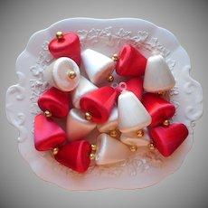 Vintage Christmas Tree Ornaments 16 Spun Satin Bells Red White