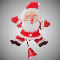 Vintage Pull String Mechanical Santa Claus Pin Christmas Plastic