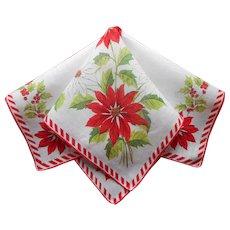 Vintage Hankie Christmas Print Linen Printed Handkerchief