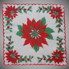 Child's Hankie Vintage Christmas Print Cotton Printed Poinsettias