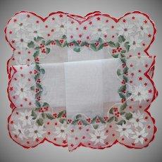 Christmas Hankie Unused Vintage Printed Cotton White Poinsettias Holly