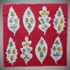1950s Linen Hankie Printed Unused Vintage Red Green Trees Leaves Print
