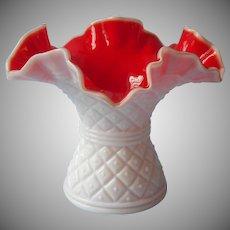 Kanawha Cased Glass Vase Red White Vintage Diamond Dot Peachblow
