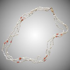 Freshwater Rice Pearls Necklace 3 Strands Faux Coral Vintage