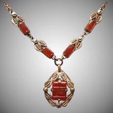 Art Deco Necklace Faux Carnelian Glass Marcasite Vintage 1920s to 1930s