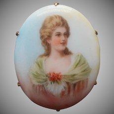 Antique Portrait PIn Porcelain Blonde Woman Lovely Colors