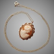 Cameo Pin Necklace Gold Filled Carved Shell Vintage On Chain