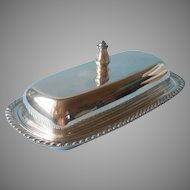 Fiesta Pattern Butter Dish Glass Insert Vintage Silver Plated Oneida
