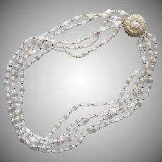 Cut Satin Glass Beads Vintage Necklace 5 Strand Mist White