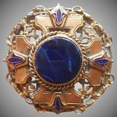 1920s to 30s Pin Brass Blue Glass Enamel Vintage Faux Lapis