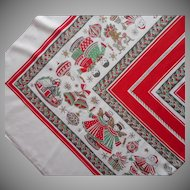 Big 1950s Christmas Print Tablecloth Vintage 94 x 62 Printed