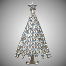 Christmas Tree Pin Blue Rhinestones Silver Tone Metal Vintage