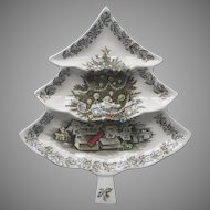 Johnson Brothers Merry Christmas Tree Divided Relish Platter Vintage China