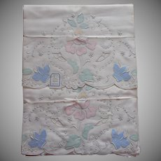 Madeira Unused Pillowcases Vintage Appliqued Hand Embroidered