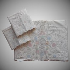 Madeira Unused Sheet Pillowcases Set Vintage Appliqued Hand Embroidered