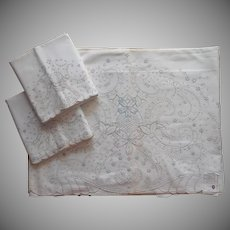 Madeira Unused Sheet Pillowcases Set Vintage Pastel Hand Embroidered