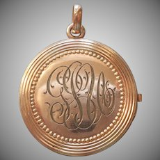 As Is Antique Locket Monogram G.U.J. Gold Filled Needs TLC