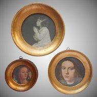 Italy Florentine Gold Gesso Wood Vintage 3 Round Frames Frame