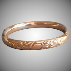 Antique Gold Filled Hinged Bangle Bacelet A.C. Co.