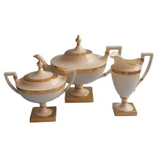 American Belleek Lenox CAC Teapot Tea Set Creamer Sugar Gold Cream TLC