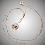 10K Gold Lavaliere Necklace Diamond Pearl Antique 1910s