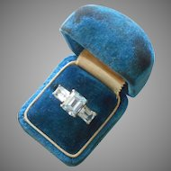 10K Blue Topaz Emerald Cut Stones Ring Vintage 1980s 5.5