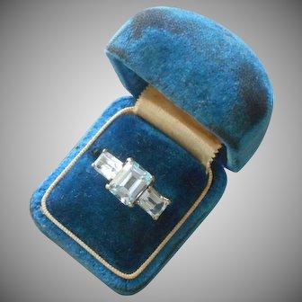 10K Blue Topaz Emerald Cut Stones Ring Vintage 1980s 5.5