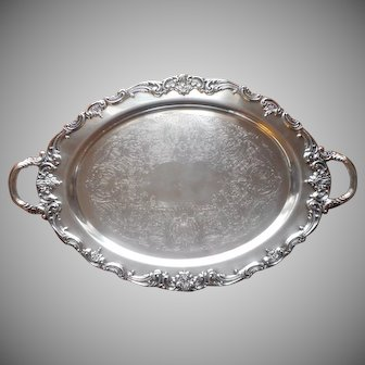 Reed and Barton El Greco Silver Plated Tray Vintage Handles Large