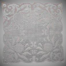 Vintage Hankie Lavish All Over Drawn Work Hand Embroidery Unused