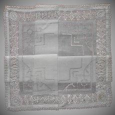 Elaborate Drawn Work Vintage Linen Hankie Tatted Lace Edging Unused Vintage