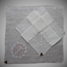 Monogram T Vintage Linen Hankies Pair Unused Labels Hankie