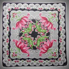 Linen Hankie Vintage Printed Gray Pink Black Green Lilies