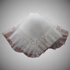 Vintage Hankie Unused Linen Lace Pleated Net Ruffle Handkerchief