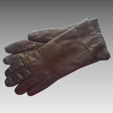 Vintage Italian Leather Gloves Fur Lined Unworn 7 Brown