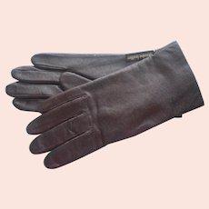 Vintage Unworn Leather Gloves Brown Fownes 7.5 Knit Lining
