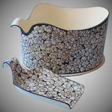 Midcentury Popcorn Scuttle Bucket Matching Scoop Set Vintage Plastic