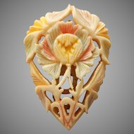 1930s Carved Bone Dress Clip Pastel Tinted
