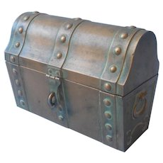 Treasure Chest Trinket Box Vintage Bija Metal Bronze Finish