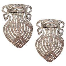 1930s Art Deco Pair Pins Made From Huge Buckle Vintage Rhinestone