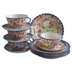 Geisha Blue Rims China Tea Plates Cups Saucers 4 Each Antique