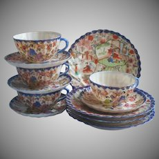 Geisha Blue Rims China Tea Plates Cups Saucers 4 Each Antique