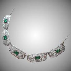 1920s Filigree Necklace Vintage Green Stones Rhodium