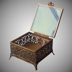 Jewelry Casket Box Glass Ornate Metal Ormolu Vintage Square Display