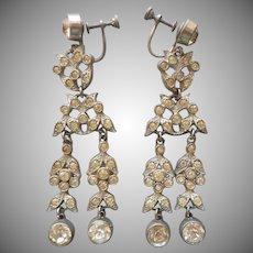 True Art Deco Long Dangle Earrings Vintage 1930s Rhinestone Screw Back