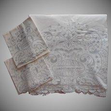 Madeira Unused Sheet Pillowcases Set Vintage Lavish Hand Embroidery