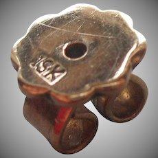 19k Gold Pierced Post Earring Clutch Back Nut Single Vintage