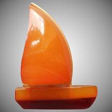 9K Gold Amber Sailboat Pin Vintage Chunky Little Thing Sail Boat