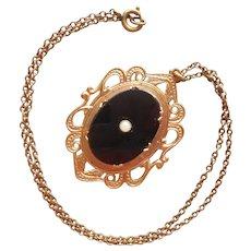 Locket Vintage Victorian Revuval Black Glass Faux Pearl Necklace Chain