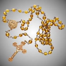 1910s to 1930s Rosary Brass Yellow Glass Beads VIntage to Antique